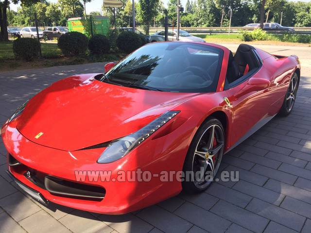 Hire and delivery to Cote D'azur International Airport the car Ferrari 458 Italia Spider Cabrio Red