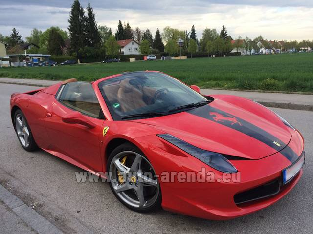 Hire and delivery to Cote D'azur International Airport the car Ferrari 458 Italia Spider Cabrio