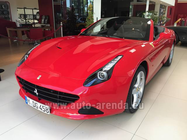 Hire and delivery to Cote D'azur International Airport the car Ferrari California T Convertible Red