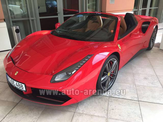Hire and delivery to Cote D'azur International Airport the car Ferrari 488 GTB Spider Cabrio