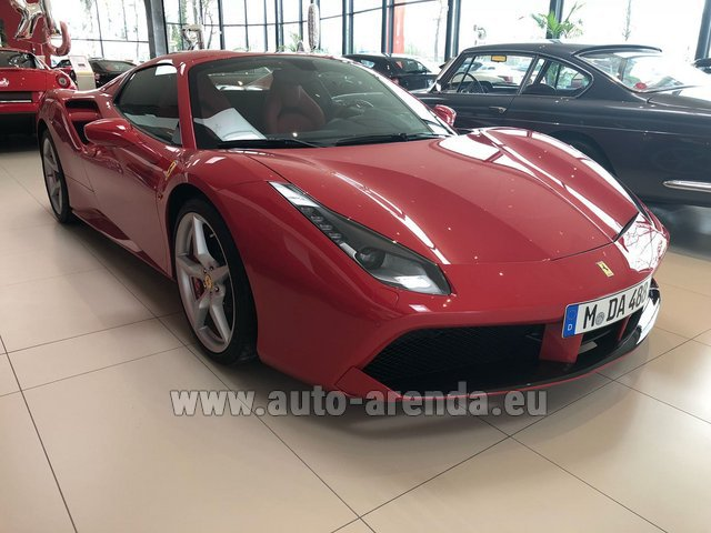 Hire and delivery to Cote D'azur International Airport the car Ferrari 488 Spider