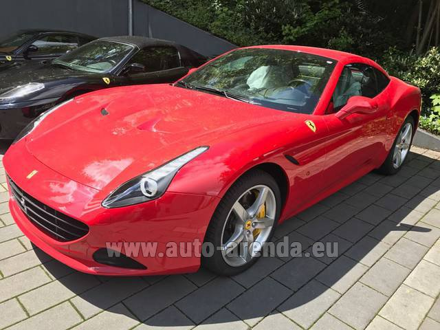 Hire and delivery to Cote D'azur International Airport the car Ferrari California T Cabrio (Red)
