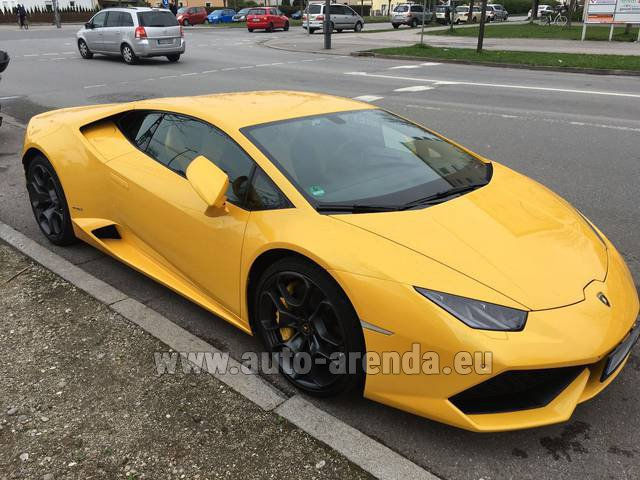 Rental Lamborghini Huracan LP 610-4 Yellow in La Condamine