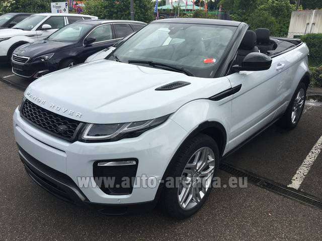 Hire and delivery to Cote D'azur International Airport the car Land Rover Range Rover Evoque HSE Cabrio SD4 Aut. Dynamic