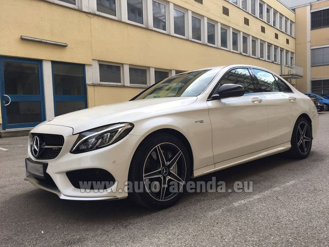 Rental Mercedes-Benz C-Class C43 AMG Biturbo 4MATIC White in Fontvieille